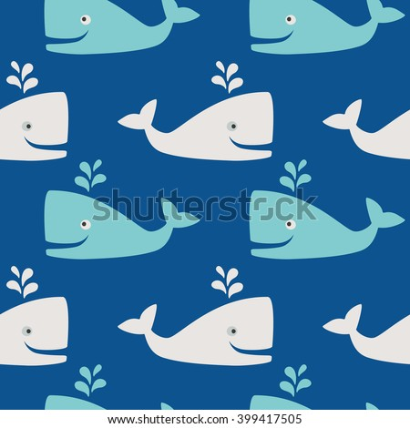 Whales in the sea- seamless pattern - stock vector