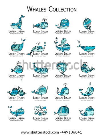 Whales logo set, sketch for your design