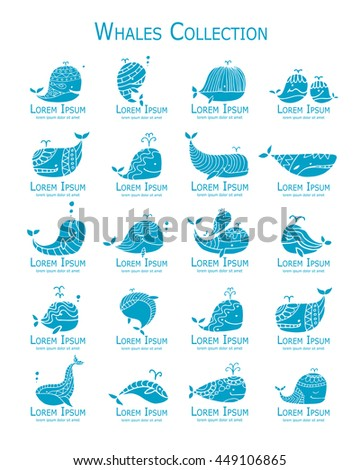 Whales logo set, sketch for your design - stock vector