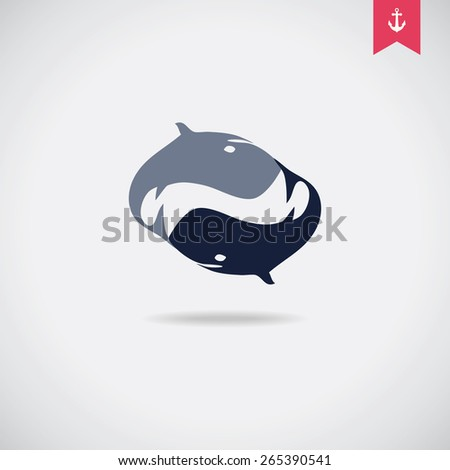 Whales vector badge. - stock vector