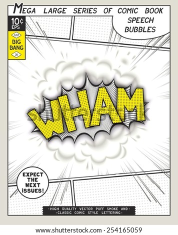 Wham. Explosion in comic style with lettering and realistic puffs smoke. 3D vector pop art speech bubble - stock vector