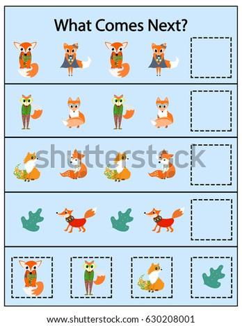 What Comes Next Fox Preschool Kindergarten Stock Vector 630208001 ...