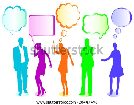 what is your opinion, having a discussion - stock vector