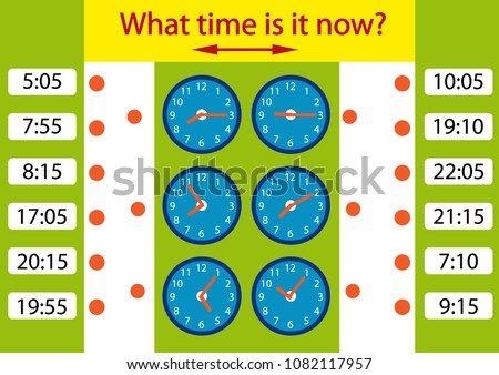 What Time Game Riddle Children Clock Stock Vector HD (Royalty Free ...