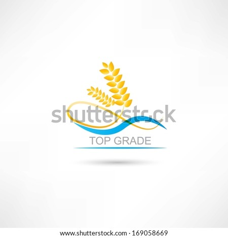 wheat and blue line icon - stock vector
