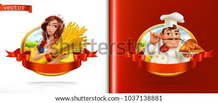 Wheat and Bread. Farmer and Baker. 3d vector label