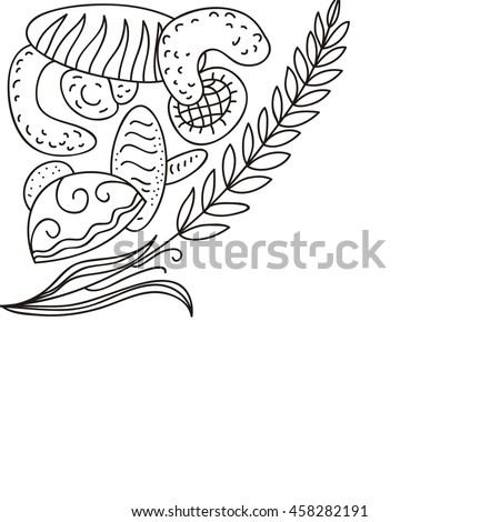 Wheat and breads. Bakery. Vector illustration.