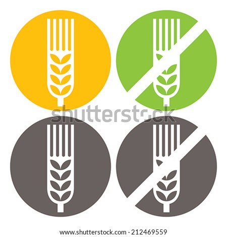 Wheat and Gluten Free Signs isolated on white background - stock vector