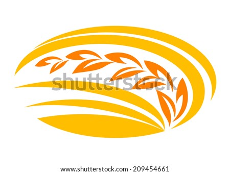 Wheat cereal symbol with yellow and orange ears,  suitable for food logo, agriculture and harvest design - stock vector