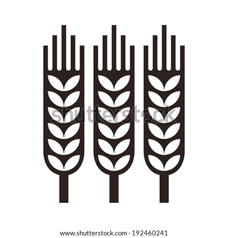 Wheat ear icon isolated on white background - stock vector