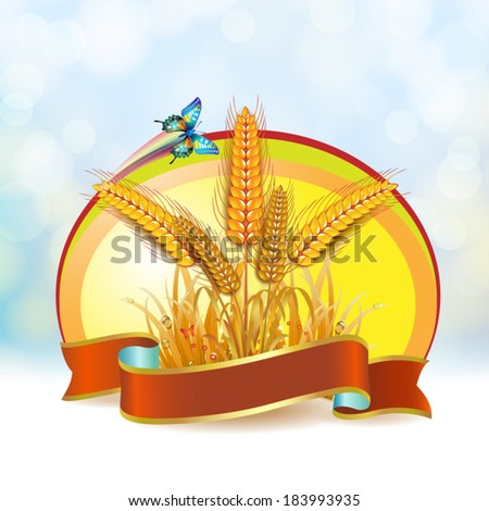 Wheat ears with ribbon - stock vector