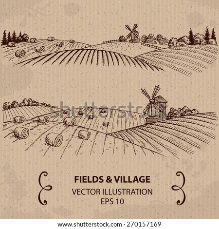 Wheat Fields with Haystacks and Windmill. Hand drawn Vector Illustration - stock vector