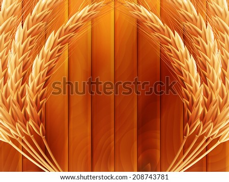 Wheat on wooden autumn background. EPS 10 vector file included - stock vector