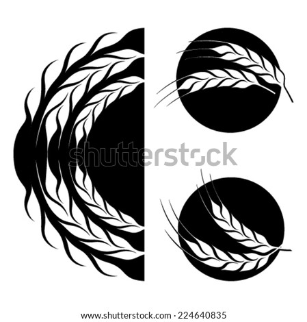Wheat symbol set - black symbols isolated from background - stock vector