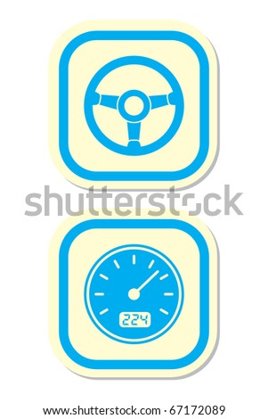 Wheel and Speedometer Icons - stock vector