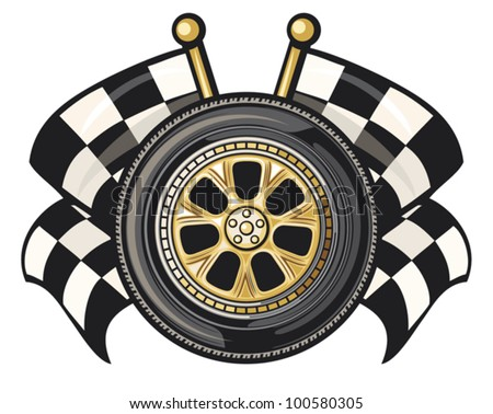 wheel and two crossed checkered flags (tyre and two crossed checkered flags, sports race design, sports race emblem, checkered flag, racing checkered flag crossed, finish flags) - stock vector