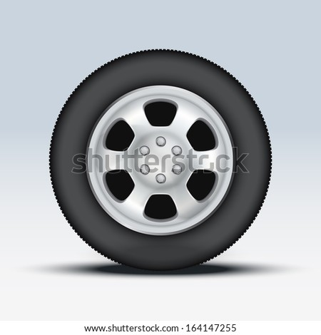 Wheel disk of sports racing car. Multicolor metal and exclusive painting. Vector illustration, premium design. Isolated on background. - stock vector