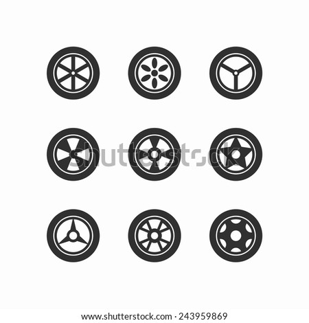 Wheel icons - Element wheels icon set on white background. Vector illustration EPS10. - stock vector
