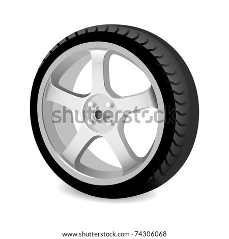 Wheel of a car on a white background