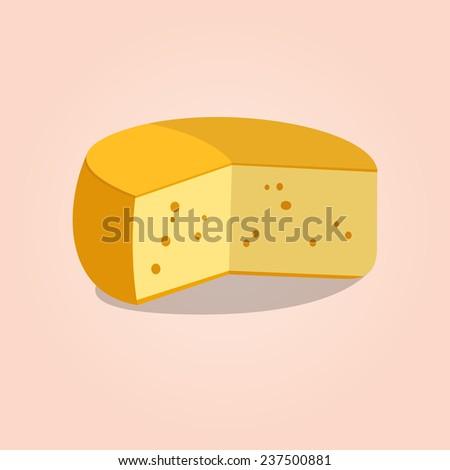 Wheel of cheese. Vector illustration - stock vector
