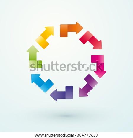wheel of colored arrows - stock vector