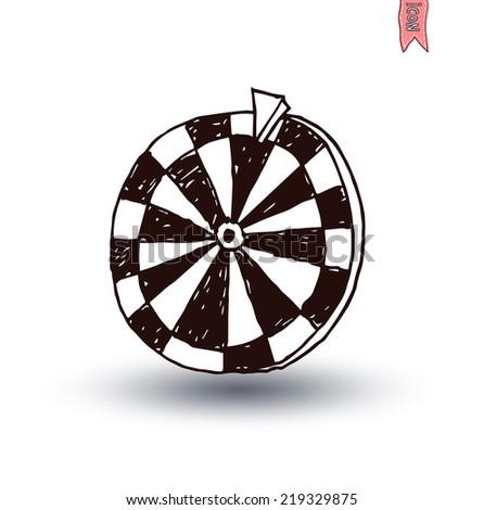 Wheel of fortune, hand drawn vector illustration. - stock vector