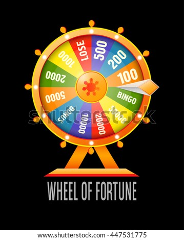 Fortune spinning wheel flat vector style stock vector for Online wheel of fortune template
