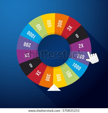 wheel of fortune on a dark blue background - stock vector