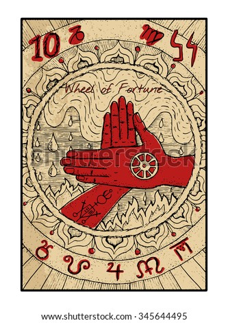 The Major Arcana Tarot Card In Color Vintage Hand Drawn Engraved