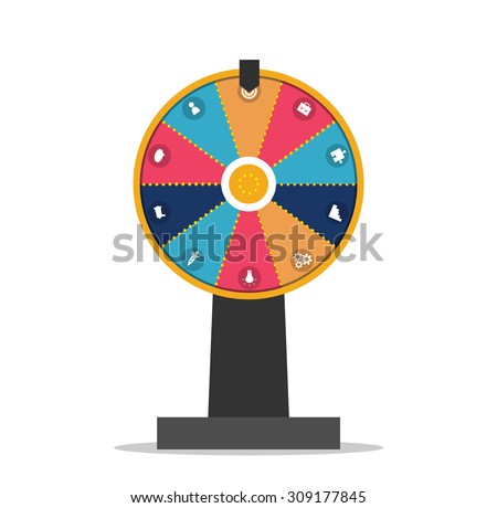 Wheel of fortune with business icons set, vector illustration - stock vector