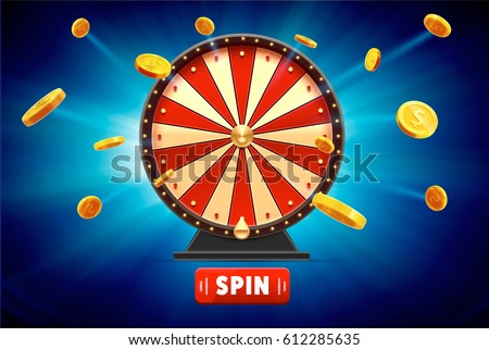 wheel of fortune with gold coins 3d object isolated on blue glowing background