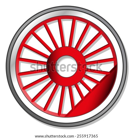 wheel of steam locomotive - stock vector
