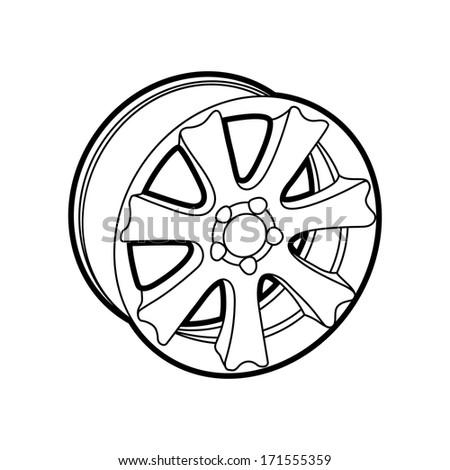 wheel on white - stock vector
