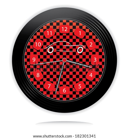 Wheel shaped race clock with car, creative vector illustration. - stock vector