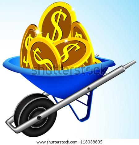 wheelbarrow and money, abstract vector art illustration - stock vector