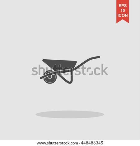 Wheelbarrow cart icon. Concept illustration for design. - stock vector