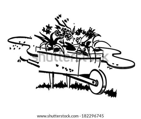 Wheelbarrow Full Of Flowers - Retro Clip Art Illustration - stock vector
