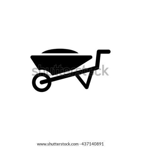 Wheelbarrow icon. Silhouette flat design cart symbol. Vector illustration - stock vector