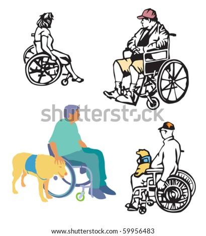 wheelchair folks - stock vector