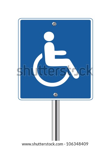 Wheelchair Handicap Sign on white - stock vector