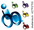 Wheelchair Icons - stock vector