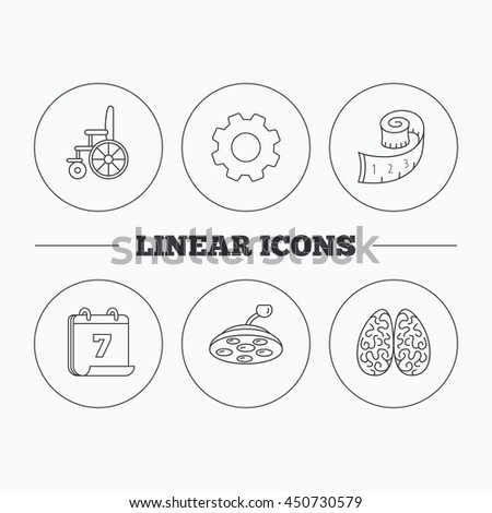 Wheelchair, neurology and weight loss icons. Surgical lamp linear sign. Flat cogwheel and calendar symbols. Linear icons in circle buttons. Vector - stock vector