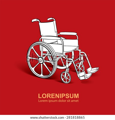Wheelchair. Vector hand drawn illustration isolate on rad background  - stock vector