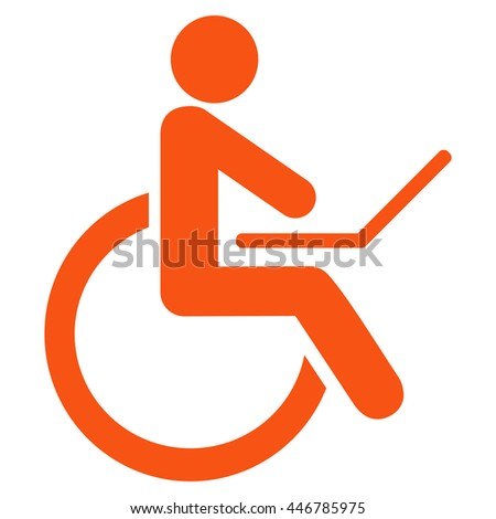 Wheelchair vector icon. Style is flat icon symbol with rounded angles, orange color, white background.