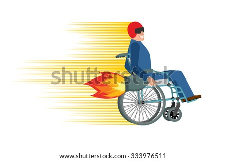 Wheelchair with turbo engine. Disabled fast rides. Man in Chair in Moto helmet. Turbine fire - stock vector