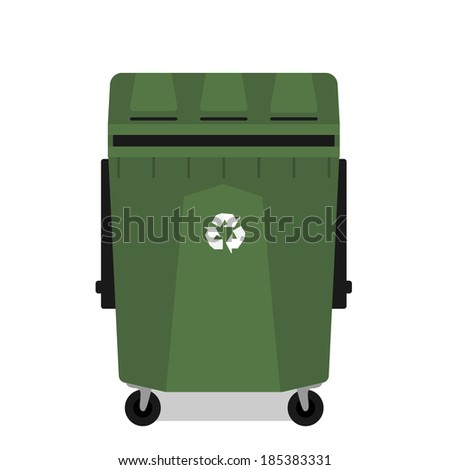 Wheeled garbage can with recycling symbol empty isolated
