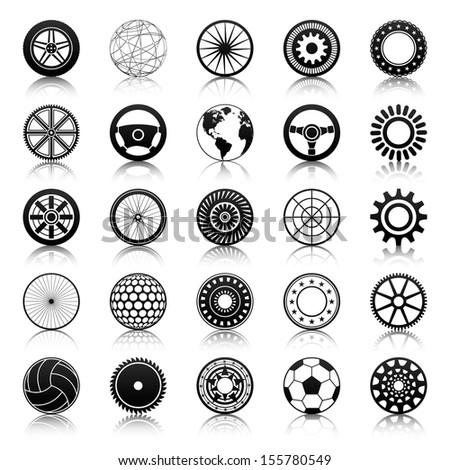 Wheels, gears, auto steering wheels, circular elements, abstract sphere - stock vector