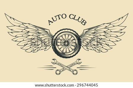 Wheels spoked, feathers, wings vintage emblem in the classical style. - stock vector