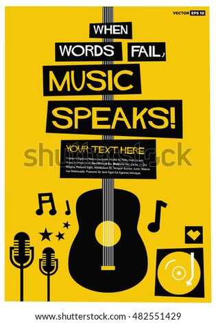 NEW Music POSTER Where Words Fail Music Speaks Mandolin