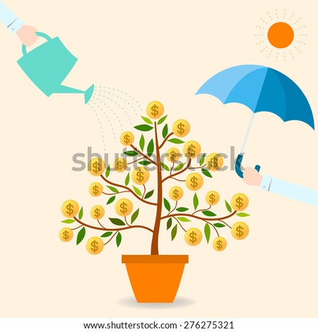 When you protect and take care your funding. It will be grow up and good benefit for you. - stock vector
